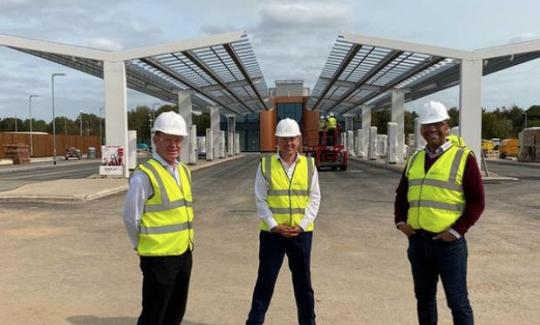James Cleverly visits the construction site of the Gridserve - the World's first electric forecourt