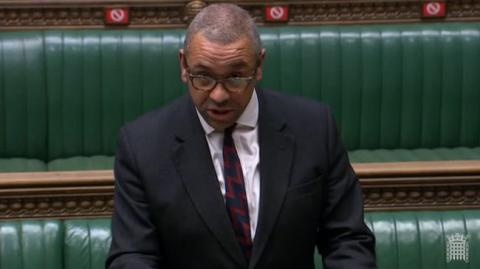 James Cleverly MP speaking at the Dispatch Box in the House of Commons