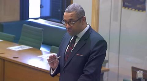 James Cleverly MP speaking in a Westminster Hall debate held in a committee room in Portcullis House