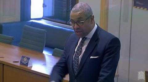 James Cleverly MP speaking in a Westminster Hall debate held in the Boothroyd Room